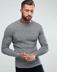 New Look Ribbed Muscle Fit Jumper In Black Marl Black Pattern