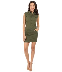 G Star Rovic Slim Sleeveless Dress In Trone Superstretch Twill Bright Rovic Green Women's Dress Navy