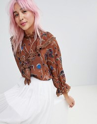 Amy Lynn High Neck Floral Printed Blouse Brown