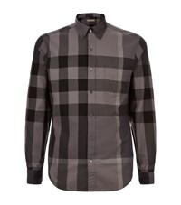 Burberry Brit Exploded Check Cotton Shirt Male Dark Grey
