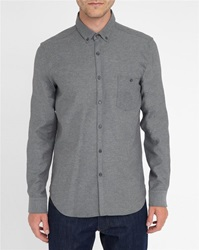 M.Studio Marled Grey Norman Thick Twill Two Tone Brushed Cotton Slim Fit Shirt