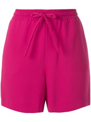 P.A.R.O.S.H. Bow Detailed Drawstring Shorts Pink And Purple