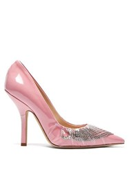 Midnight 00 Iconic Crystal Embellished Cotton And Pvc Pumps Pink