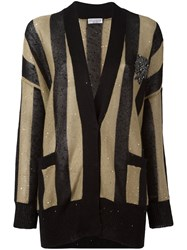 Brunello Cucinelli Striped Cardigan Black