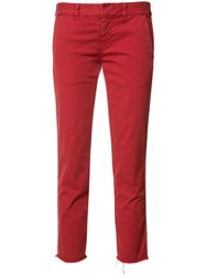 Nili Lotan Stripe Detail Cropped Trousers Red