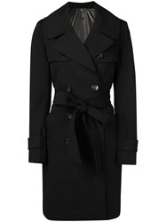 Plein Sud Jeans Double Breasted Trench Coat Black