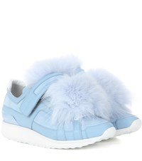Pierre Hardy Fur Trimmed Suede Sneakers Blue
