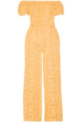 Miguelina Brisa Belted Off The Shoulder Cotton Guipure Lace Jumpsuit Pastel Yellow