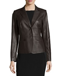 Lafayette 148 New York Leather Two Button Blazer Black