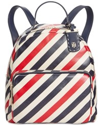 Tommy Hilfiger Julia Diagonal Coated Stripe Dome Small Backpack Tommy Navy
