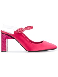 Alyx Sling Back Square Toe Sandals Leather Satin Pink Purple