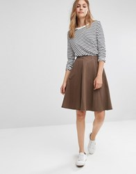 People Tree Organic Cotton Relaxed Midi Skirt Khaki Green