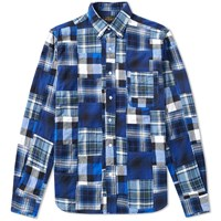 Beams Plus Button Down Patchwork Check Shirt Blue