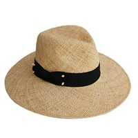 Justine Hats Wide Brim Straw Fedora Hat W Decorative Studs