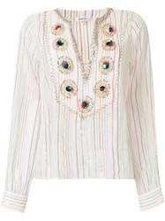 Manoush Embroidered Striped Shirt White