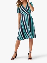 Pure Collection Jersey Wrap Dress Turquoise