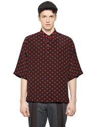 Dolce And Gabbana Oversized Layered Jersey And Silk Shirt Black Red