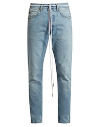 Off White Spray Print Slim Leg Jeans Light Blue