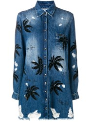 Philipp Plein Embellished Palm Tree Denim Shirt Blue