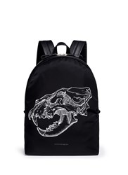Alexander Mcqueen Lion Skull Print Nylon Backpack Black