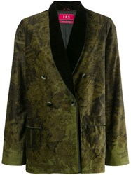 F.R.S For Restless Sleepers Double Breasted Patterned Blazer Green