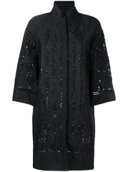 Ermanno Scervino Three Quarter Sleeve Cut Out Coat Women Polyester Acetate Cupro 44 Black