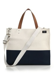 Jack Spade Dipped Square Tote Bag Navy Natural Navy