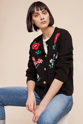 Anthropologie Embroidered Retro Cardigan Black