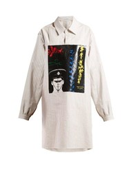 Jw Anderson X Gilbert And George Print Striped Cotton Shirt White Multi