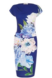 Oasis Statement Floral Drape Dress Navy