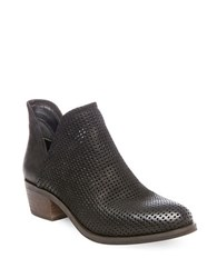 Steve Madden Kolina Mid Heel Perforated Leather Booties Black