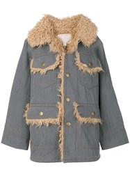 Marc Jacobs Oversized Patch Pocket Coat Blue