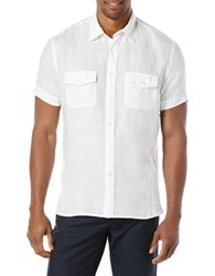 Perry Ellis Short Sleeved Button Front Linen Shirt Bright White