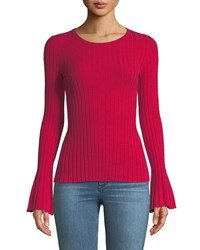 Bailey 44 Cossak Ribbed Bell Sleeve Sweater Red