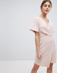 Closet London Wrap Front Mini Shift Dress Pink