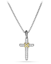 Cable Collectibles X Cross With Diamonds And Gold On Chain David Yurman Silver