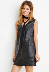 Forever 21 Contemporary Faux Leather Shift Dress Black
