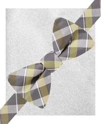 Alfani Spectrum Lennox Plaid Bow Tie And Pocket Square Set Only At Macy's Olive