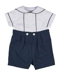 Florence Eiseman Fine Wale Pique Sailor Shirt W Button On Shorts Size 3 24 Months Blue