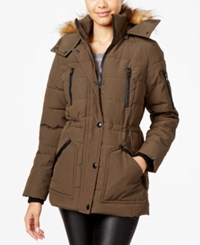 Guess Faux Fur Trim Hooded Puffer Coat Only At Macy's True Olive