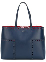Tory Burch Brogued Detail Tote Bag Women Leather One Size Blue