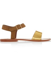 Sanchita Metallic Leather And Calf Hair Sandals