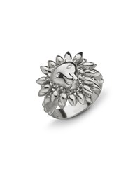 Monica Rich Kosann Sterling Silver Lion Courage Ring With White Sapphires