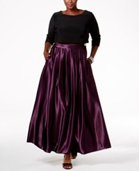 Betsy And Adam Plus Size Illusion Popover Ball Gown Black Plum