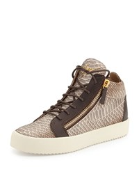 Giuseppe Zanotti Men's Snake Embossed Leather Mid Top Sneaker Light Brown