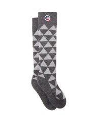 Fusalp Pic Triangle Jacquard Wool Blend Compression Socks Grey