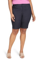 Nydj Plus Size Women's Christy Stretch Denim Bermuda Shorts Dark Enzyme
