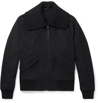 Burberry Cashmere And Wool Blend Bomber Jacket Gray