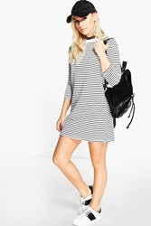 Boohoo Lilly 3 4 Sleeve Stripe T Shirt Dress Black