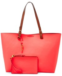 Fossil Rachel Tote With Pouch Neon Coral